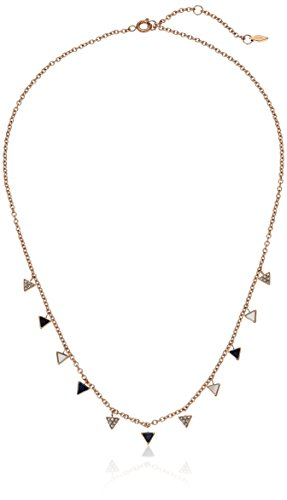 Fossil White Necklace (Fossil Triangle Pendant Necklace, Rose Gold tone)