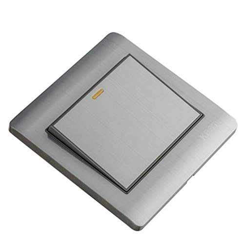 Beautiful and Practical Stainless Steel Home Light Wall Switch with On/Off Press Button(Silver Gray)