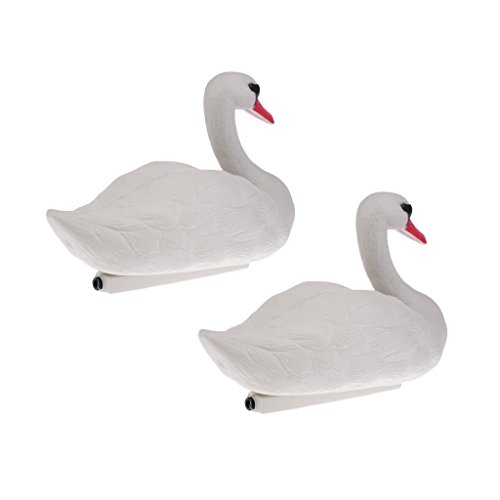 D DOLITY 2 Pieces; Floating Swan Decoy; for Hunting; Fishing; Garden Decors; Pest Scarer; Realistic Ornament