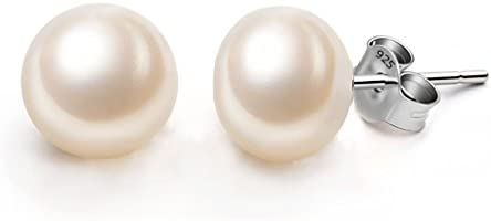 Ever Faith 925 Sterling Silver AAA Freshwater Cultured Pearl Button Stud Earrings