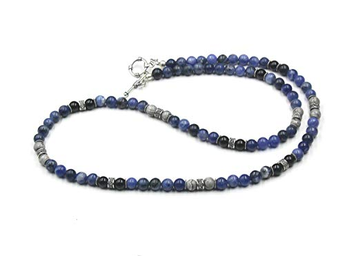 Onyx Necklace Jasper - Men's Necklace, Sodalite, Onyx, and Grey Jasper Stone Beads Necklace, Necklace For Men, Mixed Stone and Sterling Silver Beads Necklace