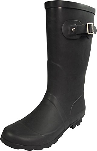 NORTY - Womens Hurricane Wellie Solid Matte Mid-Calf Rain Boot, Matte Black 39967-8B(M) US by NORTY