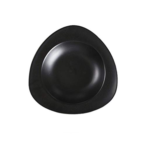 (MJHSP American Triangle Irregular Plate - Ceramic Home Dining Straw Hat Dish Soup Pasta (Color : Black))