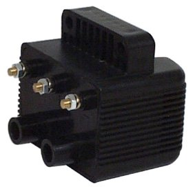 (V-Factor 16072 Black Single Fire 40,000 V Coil For Big Twin and Sportster)
