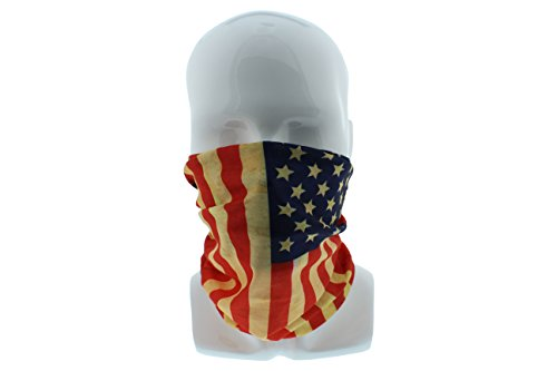 Patriotic American Flag Seamless Wide Tube Bandana Balaclava Face Mask for Men & Women – Paintball, Ski, Dust, Costume