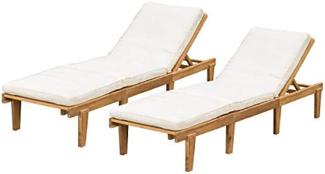 Christopher Knight Home Outdoor Pool Deck Furniture, Teak Chaise Lounge Chairs with Cushions Set of 2