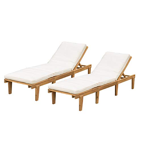 Christopher Knight Home Outdoor Pool/Deck Furniture, Teak Chaise Lounge Chairs with Cushions (Set of 2) (White Outdoor Lounge Furniture Chaise)