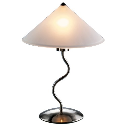 LumiSource Doe Li Touch-On 19-Inch Metal Table Lamp with Frosted-Glass Shade