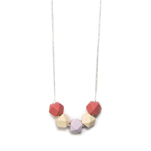 BANDED Baby Teething Necklace for Mom, BPA Free Soothing Silicone (Rose Terracotta Square Beads) ()