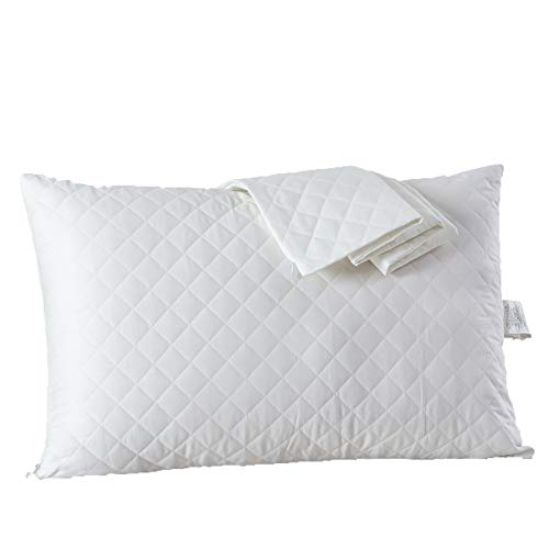 (G.L.S 2-Pack Cotton Zippered Pillowcase Standard 20 x 26 Inch, Smooth & Ultra Breathable Pillow Protectors Covers White)