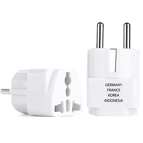 [2 Pack] BESTTEN Travel Adapter Plug for Europe, Germany, Russia, South Korea, Egypt, Iran, Indonesia (See List), Type F, 2-Pin Plug and 3-Prong Non-Tamper-Resistant Socket