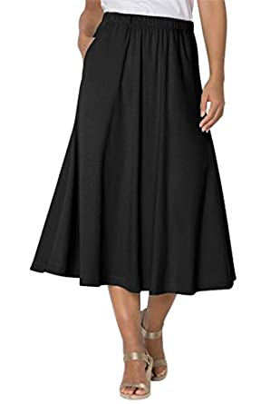 Women's Plus Size 7-Day Knit A-Line Skirt at Amazon Women's ...