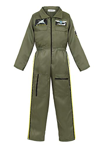 Children's Pilot Costume Jumpsuit Dress up Role Play Costume for Kids Boys Girls Pretend Play Spaceman Suit Set Green-XL ()