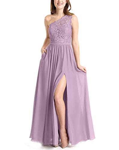 LOVEONLY Women's One Shoulder Top Lace Appliques Chiffon Skirt A-Line Floor Length Bridesmaid Dress Prom Gown Wisteria 6