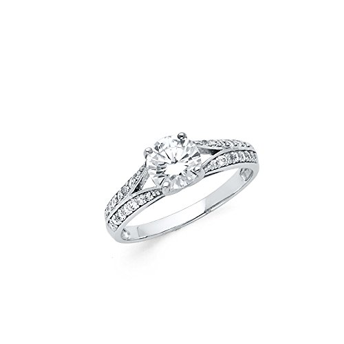 Knife Edge Solitaire Setting - Sonia Jewels 925 Sterling Silver Split Shank Knife Edge 1 Carat Round CZ Cubic Zirconia Engagement Ring Size 6