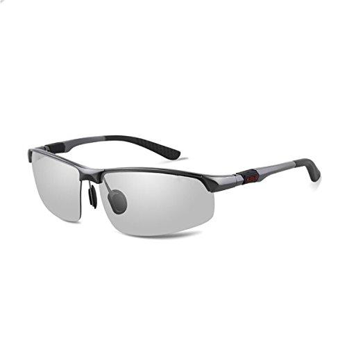 Noche visión Plata Gafas Gafas Color Gafas conducción de de y Sol Gafas Hombres Gafas Marco KOMNY de Fotosensibles de de de la de día decoloración Gun Discoloration polarizado Frame de Conductor Nocturna Sol de de los la AqHp5B5wnU