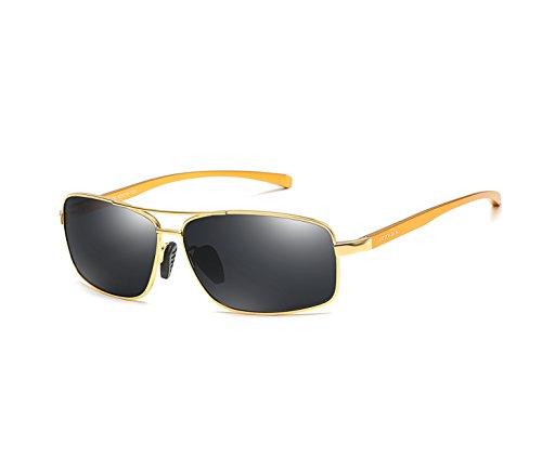 Contact Lenses Online (VEITHDIA Men's Sunglasses Rectangular Polarized Al-Mg metal Frame for Driving 100% UV Protection (Golden Frame/Grey Lens, 62))