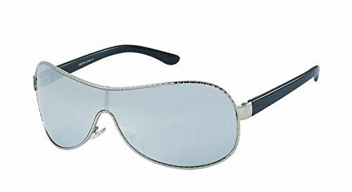Lunettes style pilote avec miroir métal-7804 monture grise, verre miroir bleu