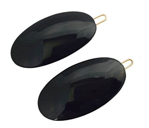 Parcelona French Oval Black Small Celluloid Acetate with Snap on Hair Pin Barrette Clip for Girls 2 Pcs