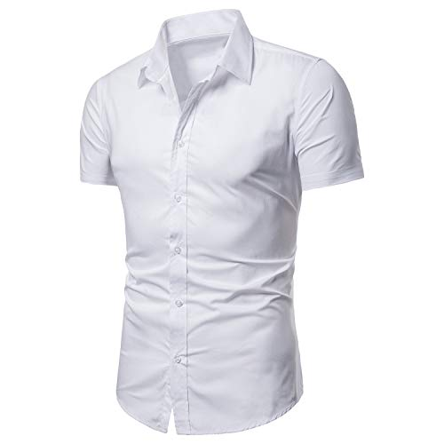 LOCALMODE Men's Slim Fit Cotton Business Casual Shirt Solid Short Sleeve Button Down Dress Shirts