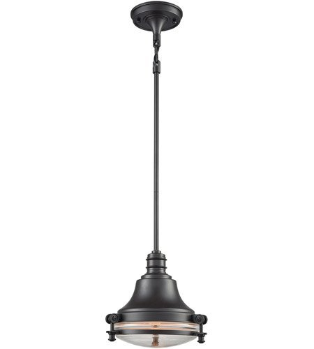 Pendants 1 Light with Oil Rubbed Bronze Finish Clear Medium Base 10 inch 60 Watts - World of Lamp