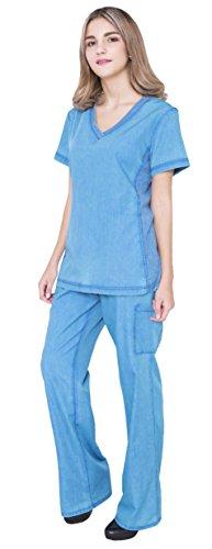 736e58c2a96 Jeanish washed rib medical uniforms doctor nurse scrubs sets  TOP&PANTS#JS1606