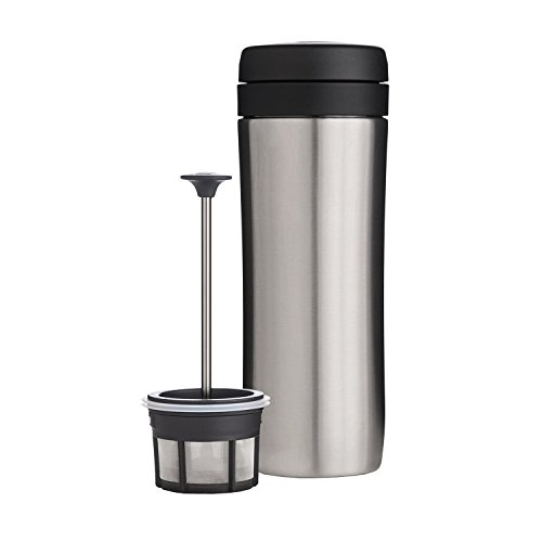ESPRO P1 Double Walled Stainless Steel Vacuum Insulated Coffee French Press, 12 Ounce, Brushed Stainless Steel