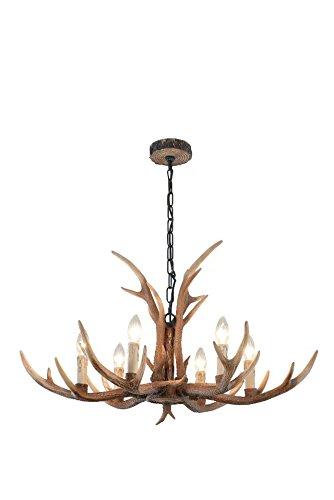 Cast Reproduction Antler Chandelier - EFFORTINC Antlers vintage Style resin 6 light chandeliers, American rural countryside antler chandeliers,Living room,Bar,Cafe, Dining room deer horn chandeliers