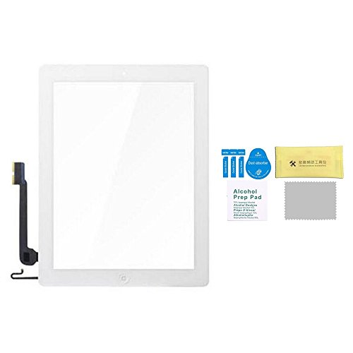 Replacement Touch Screen Digitizer Glass for ipad 4 (4th Generation) with Home Button & Original Adhesive & Home Button Assembly