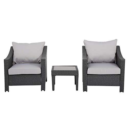 Great Deal Furniture 296065 Caspian 3 Piece Grey Outdoor Wicker Furniture Chat Set (Nyc Patios Outdoor Best)