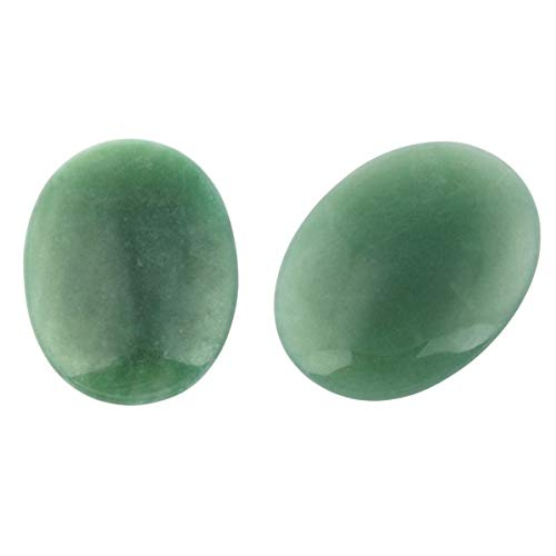 led Palm Stone, Pocket Worry Stones, Healing Power Crystal Set, Oval Green Aventurine 1.7
