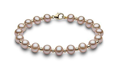 Kimura Pearls femme  9carats (375/1000)  Or jaune #Gold Rond Semi-circulaire Perle d'eau douce chinoise Rose Perle FINENECKLACEBRACELETANKLET