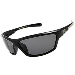 Nitrogen Men's Rectangular Sports Wrap 65mm Black Polarized Sunglasses