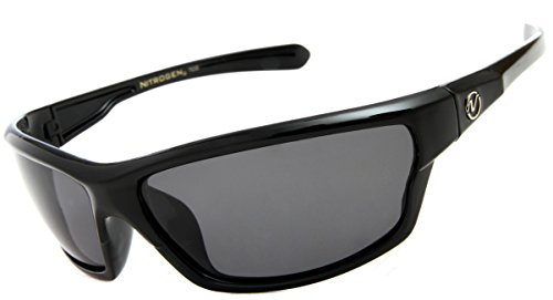 Nitrogen Men's Rectangular Sports Wrap 65mm Black Polarized - Wrap Sunglasses