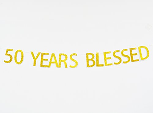 Firefairy™ 50 Years Blessed Gold Glitter Hanging Sign Banner- 50th Birthday,Anniversary Party Photo Props, Ideas and (Anniversary Decoration Ideas)