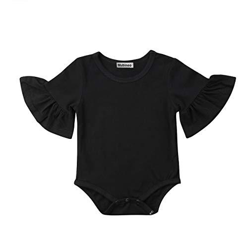 Infant Baby Girl Basic Bell Short Sleeve Cotton Romper Bodysuit Tops Clothes (Black, 3-9 Months)