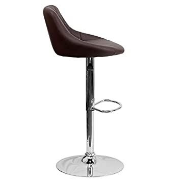 Flash Furniture 2 Pk. Contemporary Brown Vinyl Bucket Seat Adjustable Height Barstool with Chrome Base