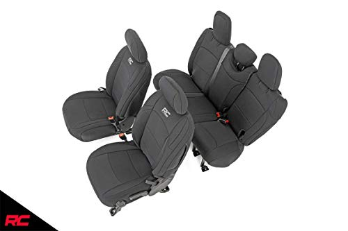 Rough Country 91010 Neoprene Seat Covers Black 4 Door | (fits) 2018-2020 Jeep Wrangler JL | 1st/2nd Row | Water...