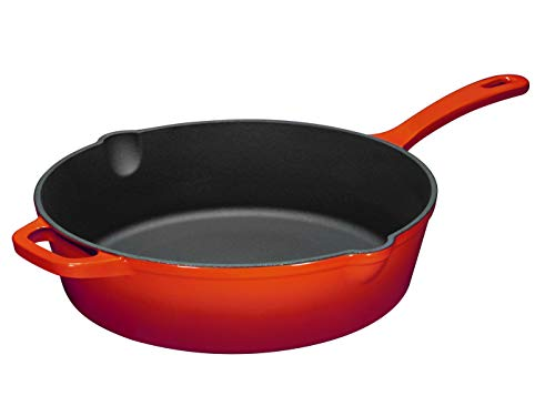 Enameled Cast Iron Skillet Deep Sauté Pan with Lid, 12 Inch, Fire Red, Superior Heat Retention by Bruntmor (Image #1)
