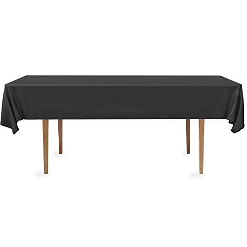DecorRack 4 Rectangular Tablecloth -BPA- Free Plastic, 54 x 108 inch, Dining Table Cover Cloth Rectangle for Parties, Picnic, Camping and Outdoor, Disposable or Reusable in Black (4 Pack) ()
