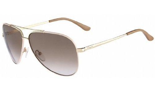 SALVATORE FERRAGAMO Sunglasses SF131S 719 Gold Beige Enamel - Ferragamo Sunglasses Aviator