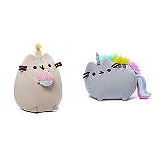 """GUND Pusheen Snackables Birthday Cupcake Plush Stuffed Animal, Gray, 10.5"""" & Pusheenicorn Plush Stuffed Animal Rainbow Cat Unicorn, 13"""""""