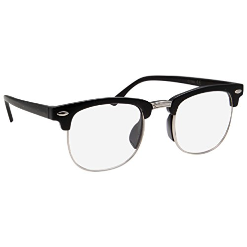 Kids Nerd Glasses Half Frame Clear Lens Geek Costume Children's (Age 3-10) Black/Silver]()