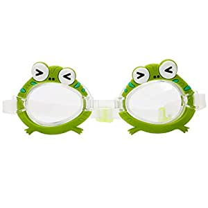 Goggles Child (3-10 Year Old) Waterproof Swimming Goggles Clear Vision Anti Fog UV Protection Bungee Straps No Leak Kid Boy Girls Youth Early Teens Competition Tranining frog