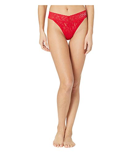 Hanky Panky Women's Signature Lace Original Rise Love Thong Red One Size