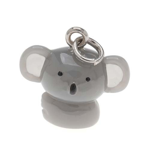 18mm 1 Charm - Hand Painted 3-D Cute Grey Koala Bear Charm 18mm Lightweight (1)