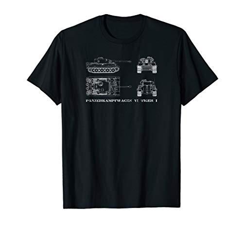 Panzer VI Tiger I Tank T-shirt Gift Blueprint WW2 Tee