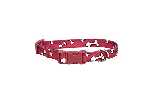 Coastal Pet Products DCP6321RBO Nylon Pet Attire Adjustable Pattern Dog Collar, X-Small, Red Bones