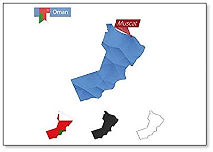 Amazon com: Oman Map With Capital Muscat - Classic Fridge Magnet