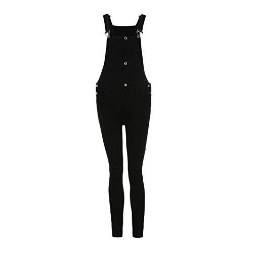 Pantalones Schwarz Mono De Demin Bib Jeans Baggy Mujer Boyfriend Stretch Hole Overoles UTwgqxf6C